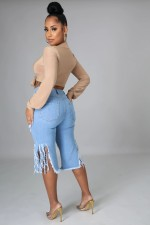 Plus Size Denim Ripped Hole Tassel Capri Jeans Pants YYF-6579