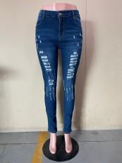 Plus Size Denim Ripped Hole Skinny Jeans OLYF-7207
