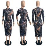 Sexy Printed Long Sleeve Midi Dress JGEF-056