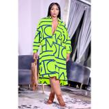 Plus Size Casual Printed Long Sleeve Shirt Dress AWF-5896