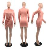 Solid Long Sleeve Folds Mini Dress LFDF-10016