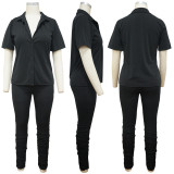 Solid Short Sleeve Two Piece Pants Set YF-9933