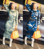 Camouflage Print Long Sleeve Sashes Long Dress YYGF-10833