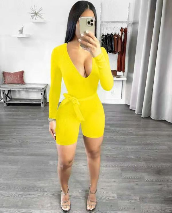Sexy Solid Long Sleeve Sashes Romper LWDF-88100