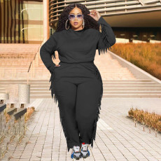 Plus Size Solid Hooded Tassel Long Sleeve 2 Piece Suits WPF-80248