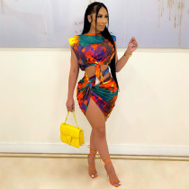 Tie Dye Print Sleeveless Top Mini Skirt 2 Piece Sets YF-9935
