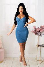 Plus Size Denim Dot Spaghetti Strap Bodycon Dress LX-3007