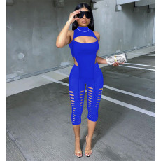 Sexy Solid Sleeveless Hollow Two Piece Pants Set MLGF-5053