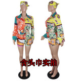 Casual Printed Long Sleeve Shirt+Shorts 2 Piece Suits (With Hearscarf)YIY-53012