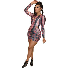 Sexy Printed Hollow Out Long Sleeve Slim Mini Dress HMS-5495