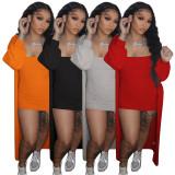 Solid Ribbed Tube Dress+Full Sleeve Long Cloak 2 Piece Sets YF-9940