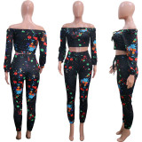 Casual Printed Off Shoulder Long Sleeve 2 Piece Suits SH-390186