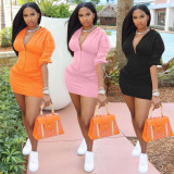 Solid Hooded Long Sleeve Mini Skirt 2 Piece Sets QMF-7059