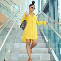 Casual Loose Long Sleeve Plaid Shirt Dress OM-1256-1