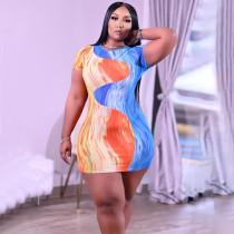 Plus Size Colorful Printed Short Sleeve Mini Dress NNWF-7269