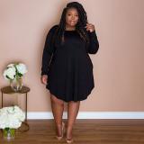 Plus Size Solid Long Sleeve Loose Dress NNWF-7265