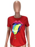 Lip Print Short Sleeve O Neck T Shirt LM-8271