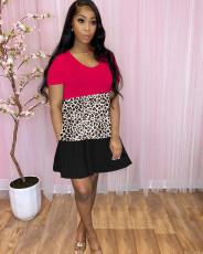 Three Color Splice Leopard Print Dress CXLF-KK814