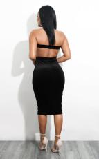 Black Sexy Hollow Backelss Strapless Club Dress MEM-88041