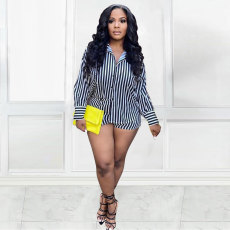 Plus Size Striped Long Sleeve Shirt And Shorts 2 Piece Sets MTY-6567