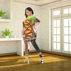 Casual Print Short Sleeve And Pants Two Piece Sets CXLF-KK811