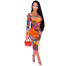 Sexy Printed See Through Long Sleeve Midi Dress YIY-5303