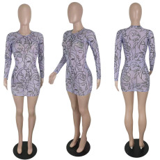 Sexy Mesh See Through Long Sleeve Club Dress YIY-5302