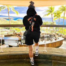 Casual Printed Hoodie And Shorts 2 Piece Suits GLF-10019