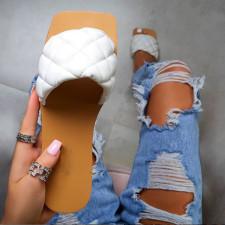 Square Toe Flat Slipper Sandals Shoes MYAF-9234