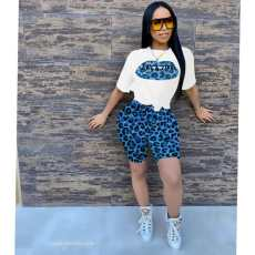 Leopard Print T Shirt And Shorts Two Piece Sets FST-FA7095