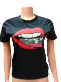 Lip Print Short Sleeve O Neck T Shirt FST-FA7101
