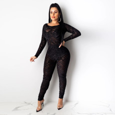 Sexy Mesh See Through Backless Jumpsuit SH-390190