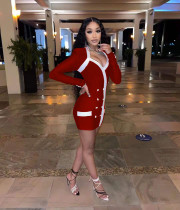 Sexy Double Breasted Long Sleeve Mini Dress MNKF-8023