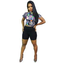 Casual Printed Short Sleeve Two Piece Sets FST-FA7007