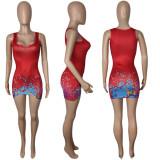Sexy Printed U Collar Sleeveless Mini Dress MDUO-M063