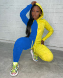 Contrast Color Hoodie Stacked Pants 2 Piece Sets MDUO-M098