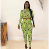 Wave Print Long Sleeve Two Piece Pants Set MDUO-M091