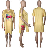 Lip Print Split Long Top And Shorts 2 Piece Sets MDUO-M074