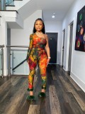 Sexy Printed One Shoulder Two Piece Pants Set MDUO-M077
