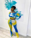 Tie Dye Print Long Sleeve Two Piece Pants Set MDUO-M099