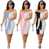 Color Block Fashion Sexy Midi Dress YIM-209