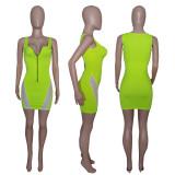 Sexy Mesh Patchwork Sleeveless Mini Dress MDUO-M059