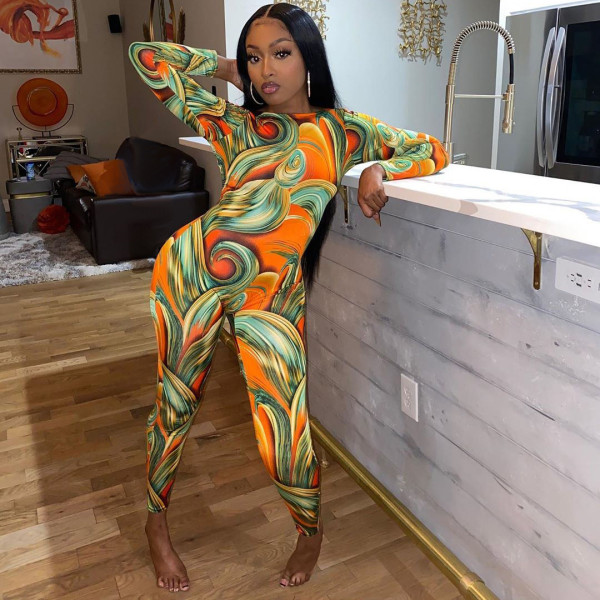 Sexy Printed Backless Long Sleeve Jumpsuit MDUO-M094