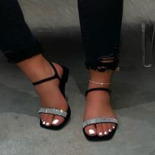 Hot Drilling Shiny Square Toe Flat Sandals MYAF-8017