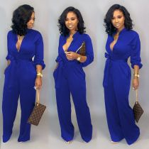 Plus Size Casual Solid Color Jumpsuits MOF-6639
