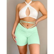 Sexy Casual Solid Color Tie Up Shorts ASL-6377