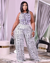 Plus Size Casual Printed Pocket Wide Leg Pants BLI-2509