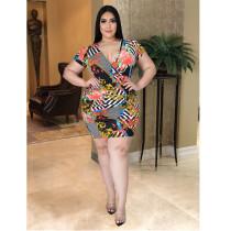 Plus Size Sexy V-neck Print Ruched Mini Dress ASL-7018