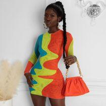 Sexy Printed Long Sleeve Bodycon Mini Dress CHY-1344