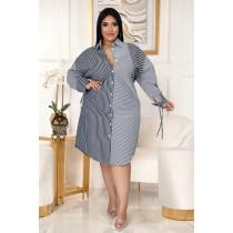 Plus Size Splice Striped Print Shirt Dress ASL-7039